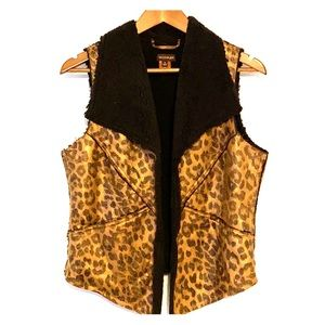 🦋Multiples Cheetah Print Sherpa Vest Sz S